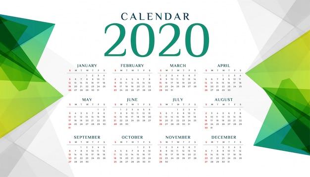 2020年の抽象的な幾何学的な緑のカレンダーテンプレート