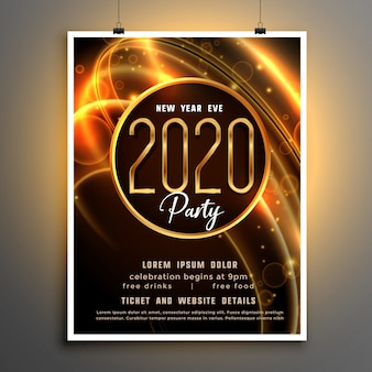 2020年新年の光沢のあるパーティーイベントチラシテンプレート