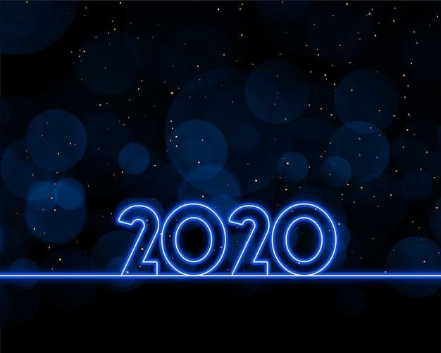 2020 год написан в синем неоновом стиле