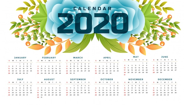 2020年新年の花カレンダーワイドテンプレートデザイン