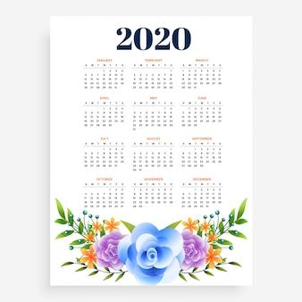 スタイリッシュな2020年新年の垂直花テンプレートデザイン