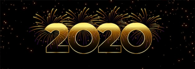 2020新年あけましておめでとうございます花火バナーテンプレート