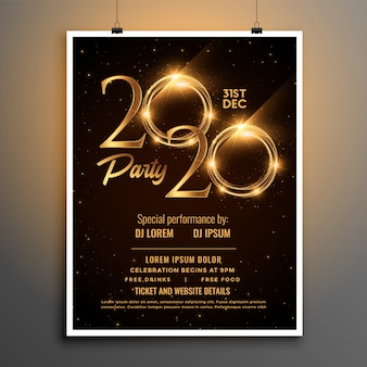 2020年の新年パーティの招待状の光沢のあるテンプレート
