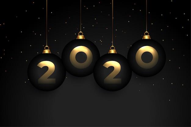 Элегантный черный черный премиум дизайн новогодней открытки 2020 года