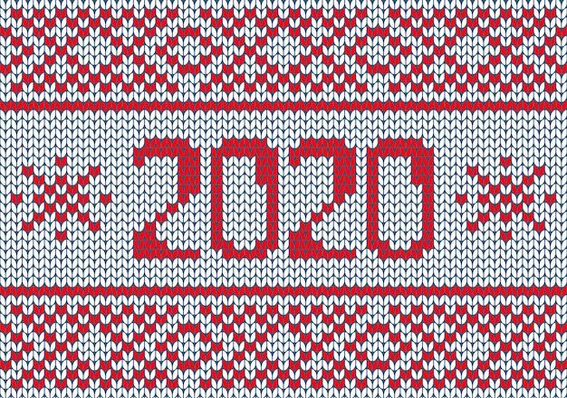 赤と白の色のベクトルシームレスな北欧編みパターン。クリスマスと冬のホリデーセーターデザイン2020。パールステッチ方式のフェアアイル。プレーンニットのテクスチャ。
