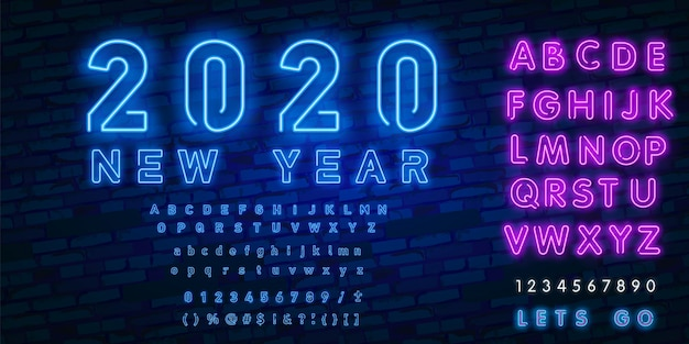 Неоновая вывеска с новым годом 2020 и алфавит неоновый стиль