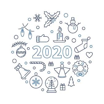 2020 рождество и новый год раунд иллюстрации