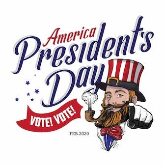 ひげを生やしたアメリカ人のイラスト2020年大統領の日を祝う