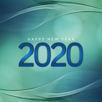 新年2020年モダンな波状緑の背景