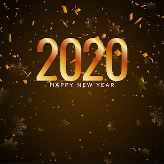 С новым годом 2020 золотое конфетти фон