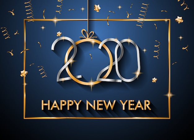 クリスマスの季節チラシとグリーティングカードの2020年新年あけましておめでとうございます背景