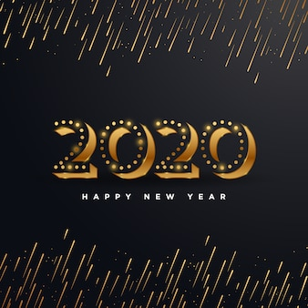 黒に分離された花火イラストとゴールデン2020新年あけましておめでとうございます