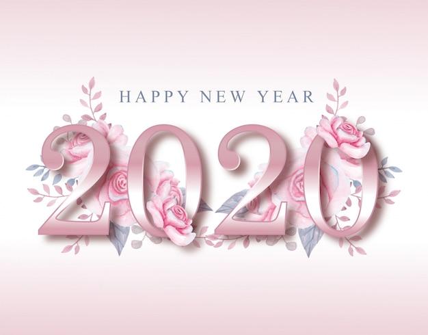新年2020年ピンクの花スタイルグリーティングカード