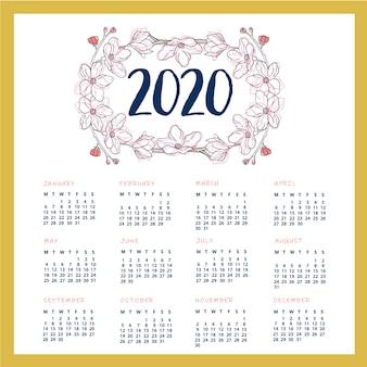 印刷可能な2020年カレンダーデザイン
