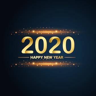 Золотой новогодний 2020 блестит на синем фоне