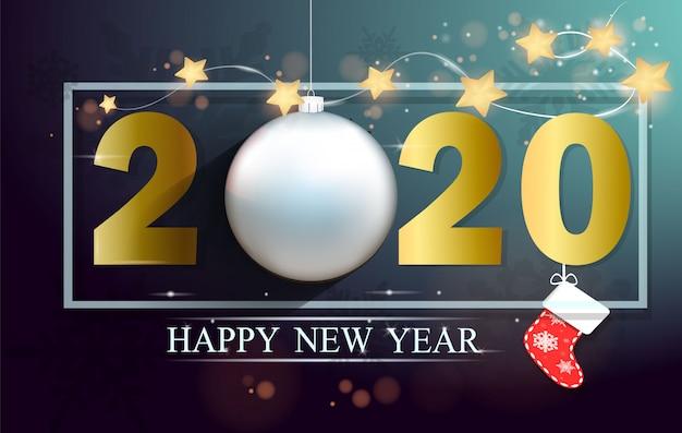 ゴールド2020新年あけましておめでとうございます、メリークリスマスのグリーティングカード