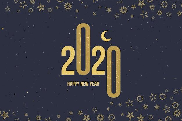 Поздравительная открытка с новым годом 2020 с золотым знаком и луной