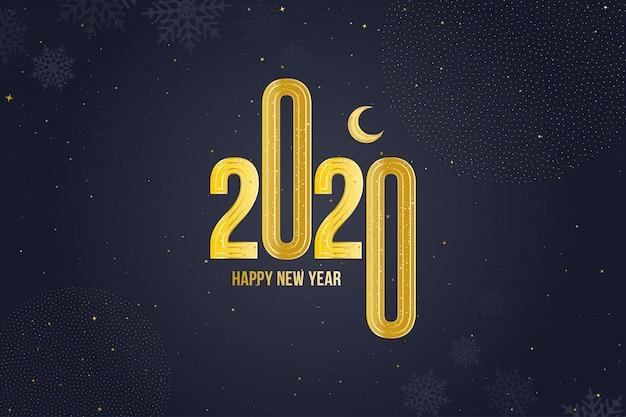 ゴールデンサインと月と幸せな新年2020グリーティングカード