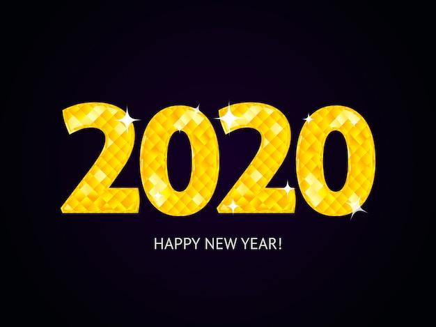 Счастливый новый год 2020 алмаз чисел концепция типографии