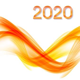 2020 аннотация нового года на фоне цветных волн