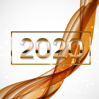 色付きの波の背景に新年の2020年抽象的なベクトルイラスト
