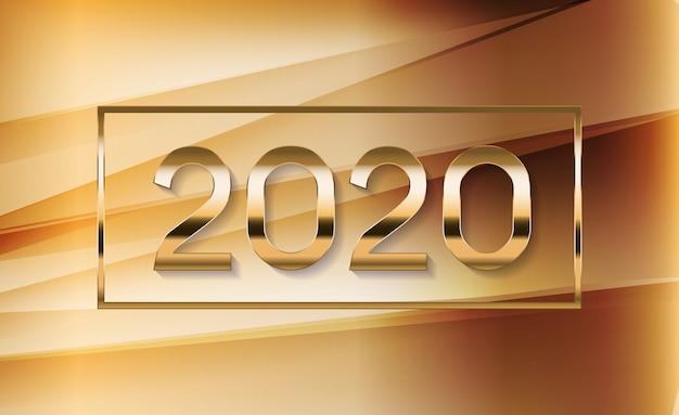色付きの波の背景に新年の2020の抽象的なイラスト
