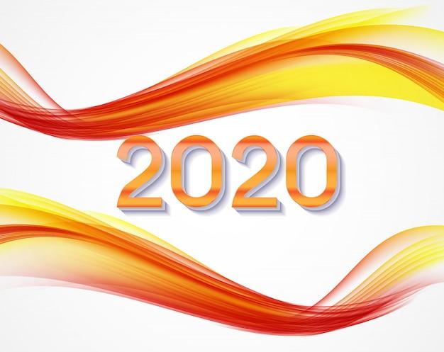 2020 абстрактные векторные иллюстрации нового года на фоне цветных волн