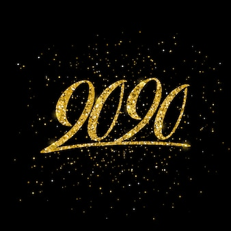 組成をレタリングと幸せな新しい2020年ポスター。
