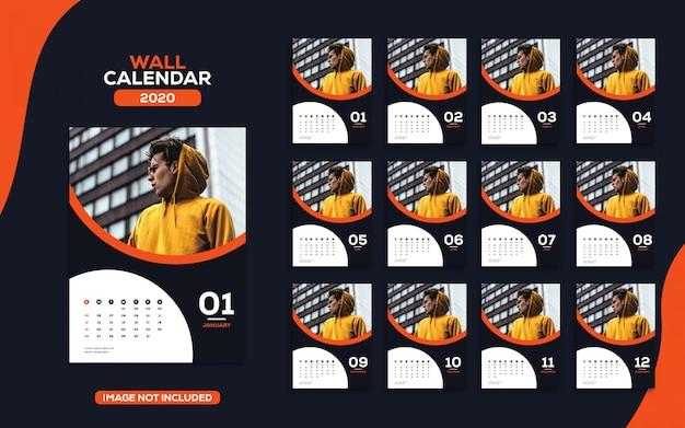 Модный настенный календарь 2020 шаблон