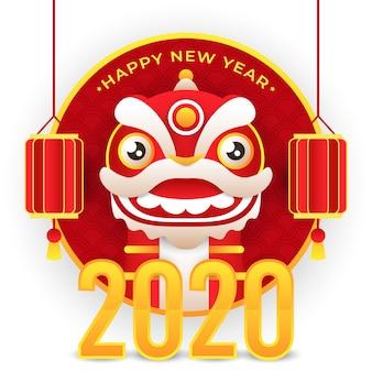 Китайский новый год с драконом и фонарем и 2020 золотым