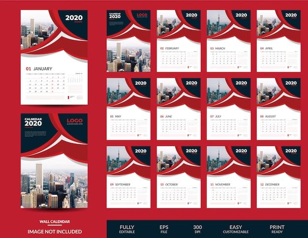 Красный настенный календарь 2020 шаблон
