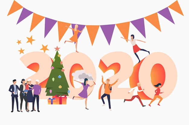 2020年の新年を祝う人々