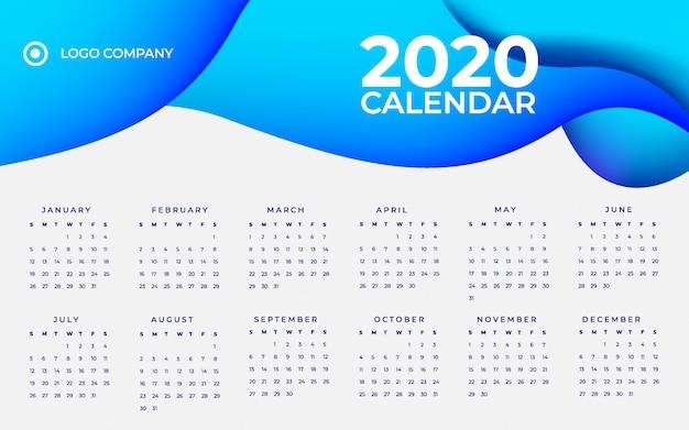 Шаблон календаря синий градиент 2020