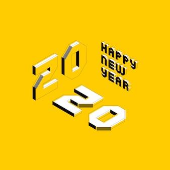 グリーティングカード、ポスター、招待状、パンフレットの等尺性文字で2020新年あけましておめでとうございますバナーデザインレイアウト