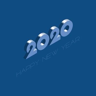 2020新年あけましておめでとうございますデザインテンプレートと古典的な青の色パレット。