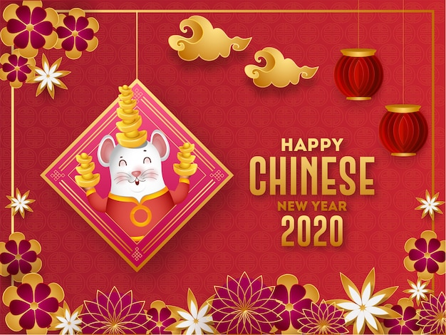 Поздравительная открытка счастливого китайского нового года 2020 при крыса шаржа держа слиток, фонарики отрезка бумаги и цветки украшенные на красном безшовном китайском символе.