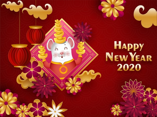 Китайская счастливая поздравительная открытка торжества нового года 2020 при крыса шаржа держа слиток, фонарики отрезка бумаги и цветки украшенные на красной безшовной волне круга.