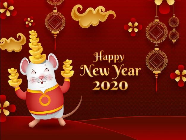Поздравительная открытка счастливого китайского нового года 2020 с милой мультипликационной крысой, держащей слитки и украшенные китайскими украшениями