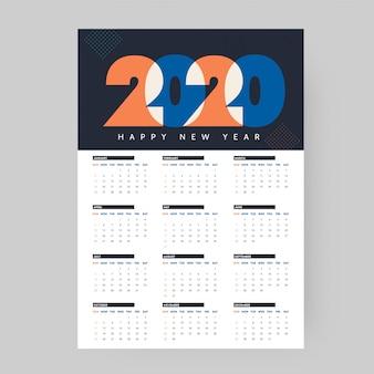 2020年の年次カレンダーまたはオーガナイザー。