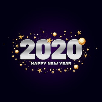 2020 счастливый новый год текст украшен золотыми шарами.