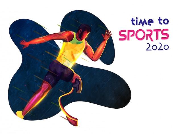 Безликий неработающий человек бежать с световым эффектом на абстрактной предпосылке на время к спортам 2020.