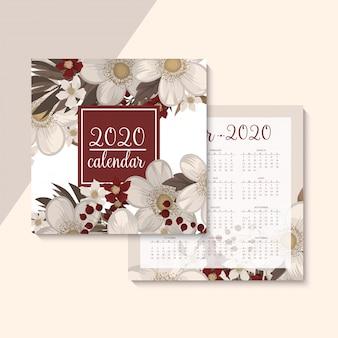 Календарь 2020. цветочный календарь с красными цветами. векторная иллюстрация
