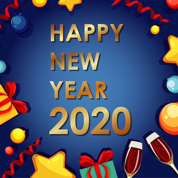 新年2020年のポスターバナー