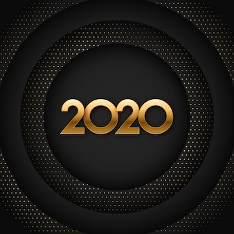 2020年ブラックとゴールドの新年イラスト
