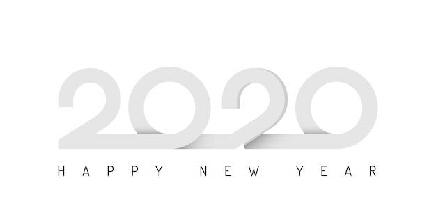 冬の休日の背景に2020リボンレタリング新年サイン