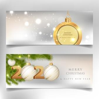 メリークリスマスと新年あけましておめでとうございます、2020年バナー