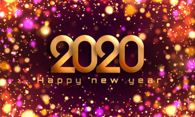 Боке блеск рождество 2020 фон, новогодние огни.