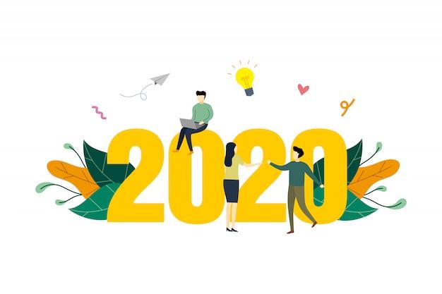 2020計画の概念図、作業プロジェクト、成功フラットイラストに到達する作業