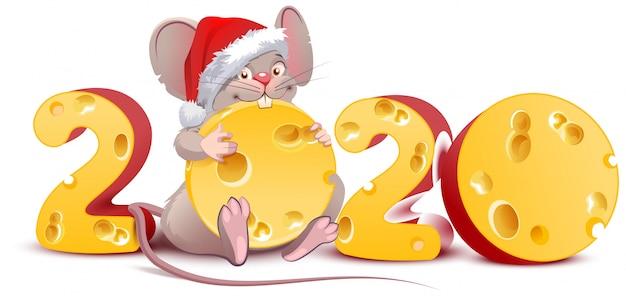 2020 год мыши, санта-мышь держит швейцарский сыр