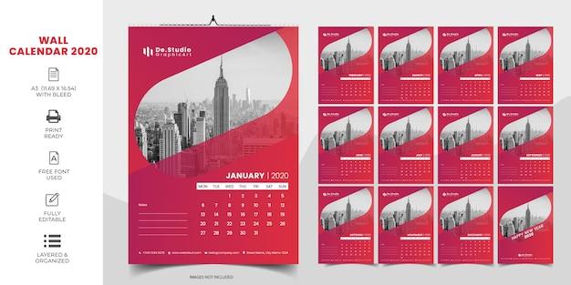 Креативный настенный календарь 2020 с красным цветом